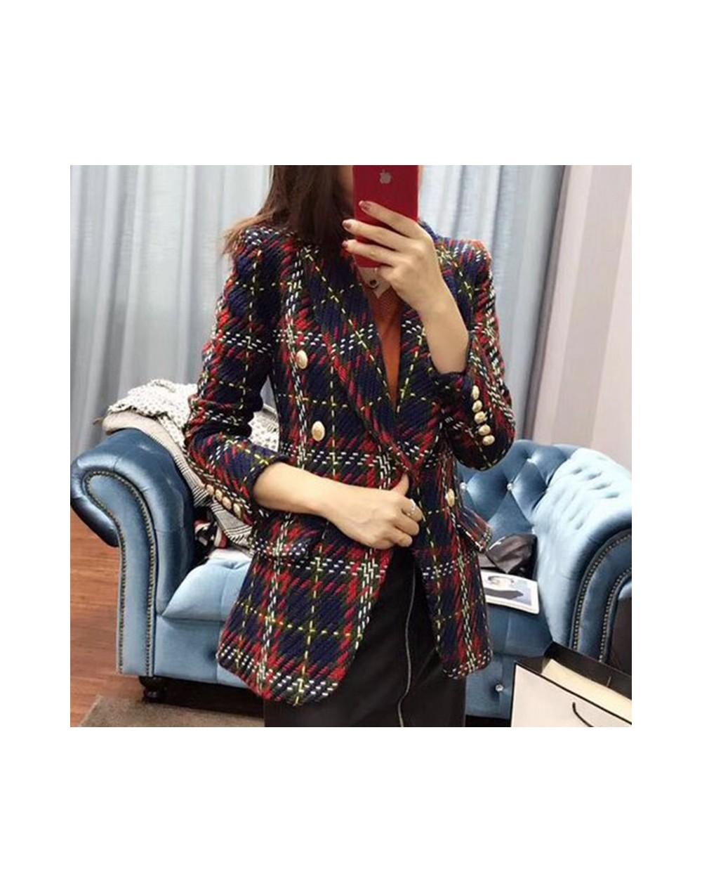 HIGH STREET New Fashion 2019 Baroque Designer Blazer Coat Women's Double Breasted Lion Buttons Plaid Wool Tweed Blazer Overc...