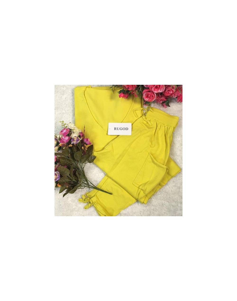 Women Tracksuit 2 two Pieces Set Knitted Pullover Sweaters Tops Deep V-neck Long Sleeve Sweatshirt + Pants Women's Sets - ye...
