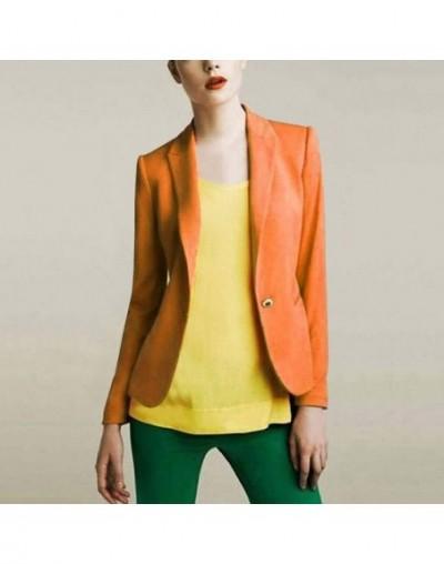 Autumn Women's Blazers Jackets Small Chiffon Suit Jacket Candy Color Long Sleeve Slim Suit Button Women Basic Jackets - Oran...