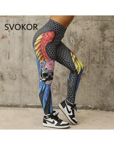 High Waist Women Leggings Geometric Honeycomb Angel Wing Print Hip Breathable Push Up Pants Leggings Women - Multi - 4V30710...