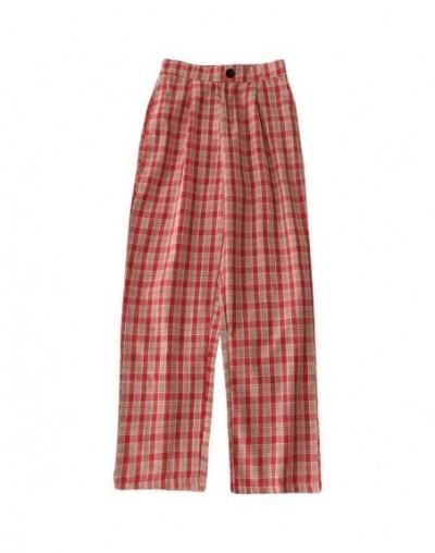 Harajuku Wide Leg Pants High Elastic Waist Women Cotton Red Plaid Pants 2019 Summer Loose Full Pantalon Student Trousers - r...