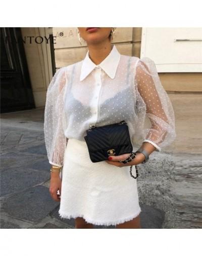 2019 Summer Women Chiffon Blouse Shirt Sexy Transparent Mesh Beading Puff Sleeve Female office Shirts Lady Blusa Outfits - W...