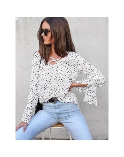 Casual Polka Dot White Womens Tops and Blouses 2019 Summer V-neck Flare Sleeve Chiffon Blouse Women Blusas - White - 4E30938...