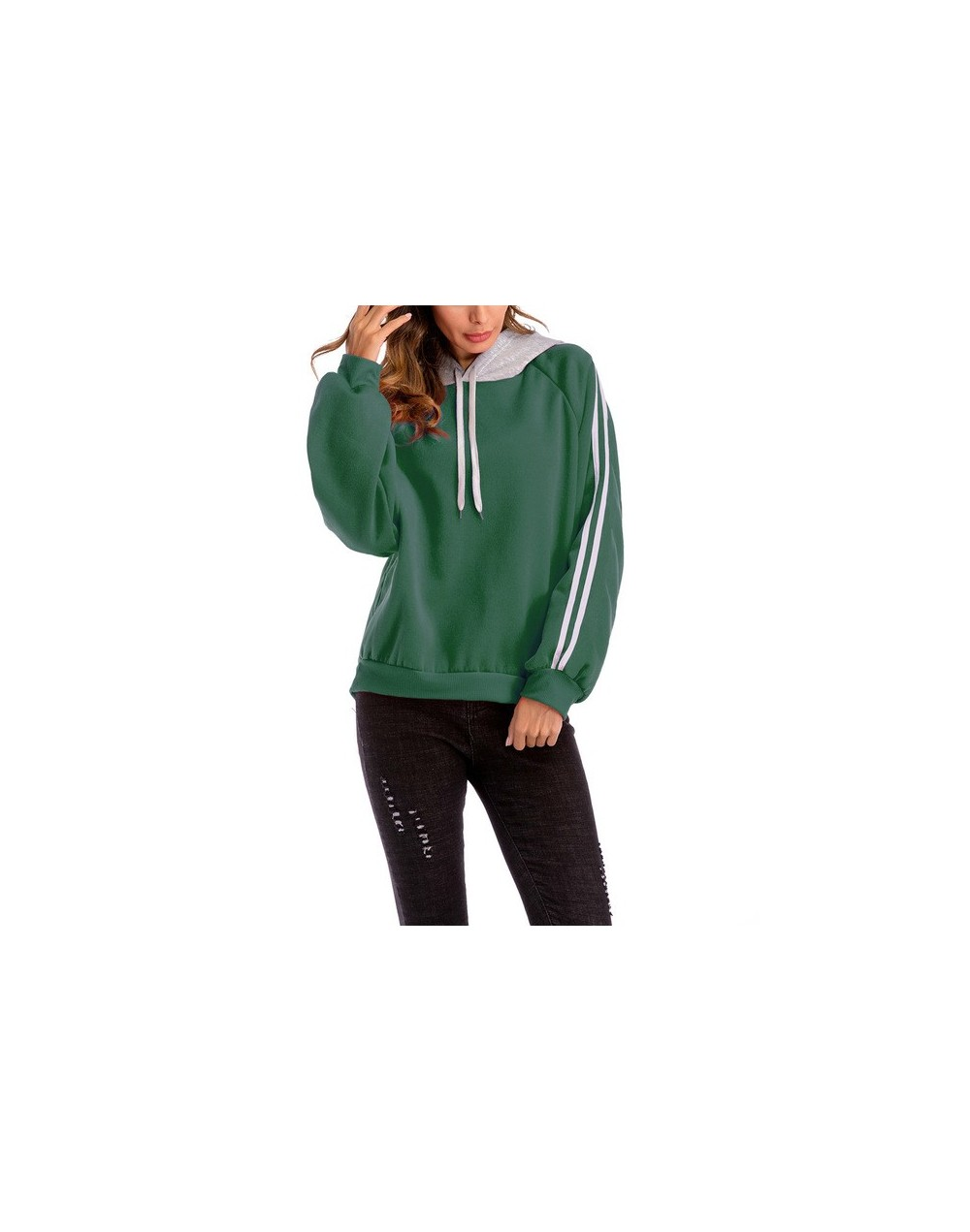 Womens Tops and Blouses Plus Size Hoodies Sweatshirts Color Block Hooded Blouse Loose Striped Sweatshirt sudadera - Green - ...