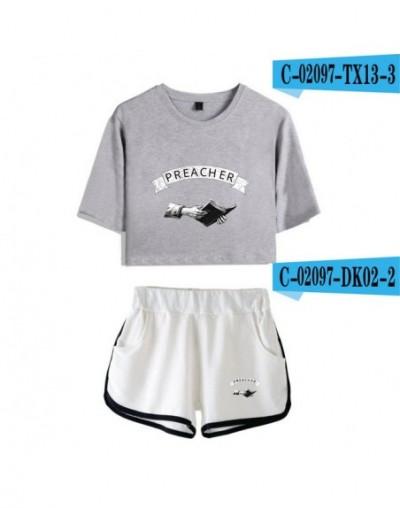 Preacher two piece set streetwear navel tshirt + shorts sets 2019 casual fashion shorts set women 100% cotton - C02098 - 4 -...