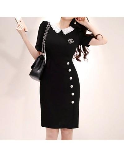 Runway Designer 2019 Summer New Women Fashion Elegant Slim Chic Office Lady Dress - Black - 4I4135351390