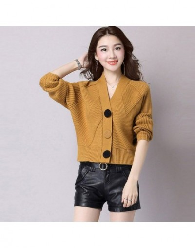 New Spring Autumn Knit Cardigans Women Short Loose Long Sleeve V-Neck Sweaters Female Outwear Coat Cardigans Sweaters RE0241...