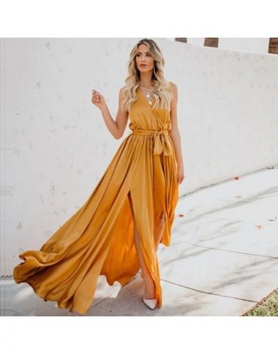 Women Summer Maxi Dresses for Women 2019 Split Sexy Sleeveless Bandage V-Collar Long Dress Green Loose Party Club Sundress D...