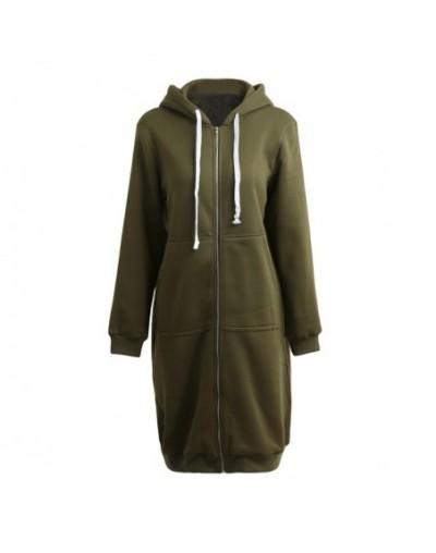 Plus Size Hooded Coat Female Fashion Women Hoodies Long Sweatshirts Winter Casual Pockets Zipper Solid Outerwear Jacket - Ar...