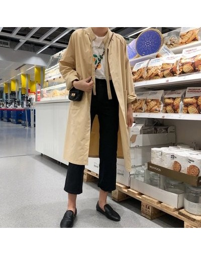 2019 New Korean version chic loose shirt coat spring Long sleeve Solid color vintage long windbreaker jacket female cc705 - ...