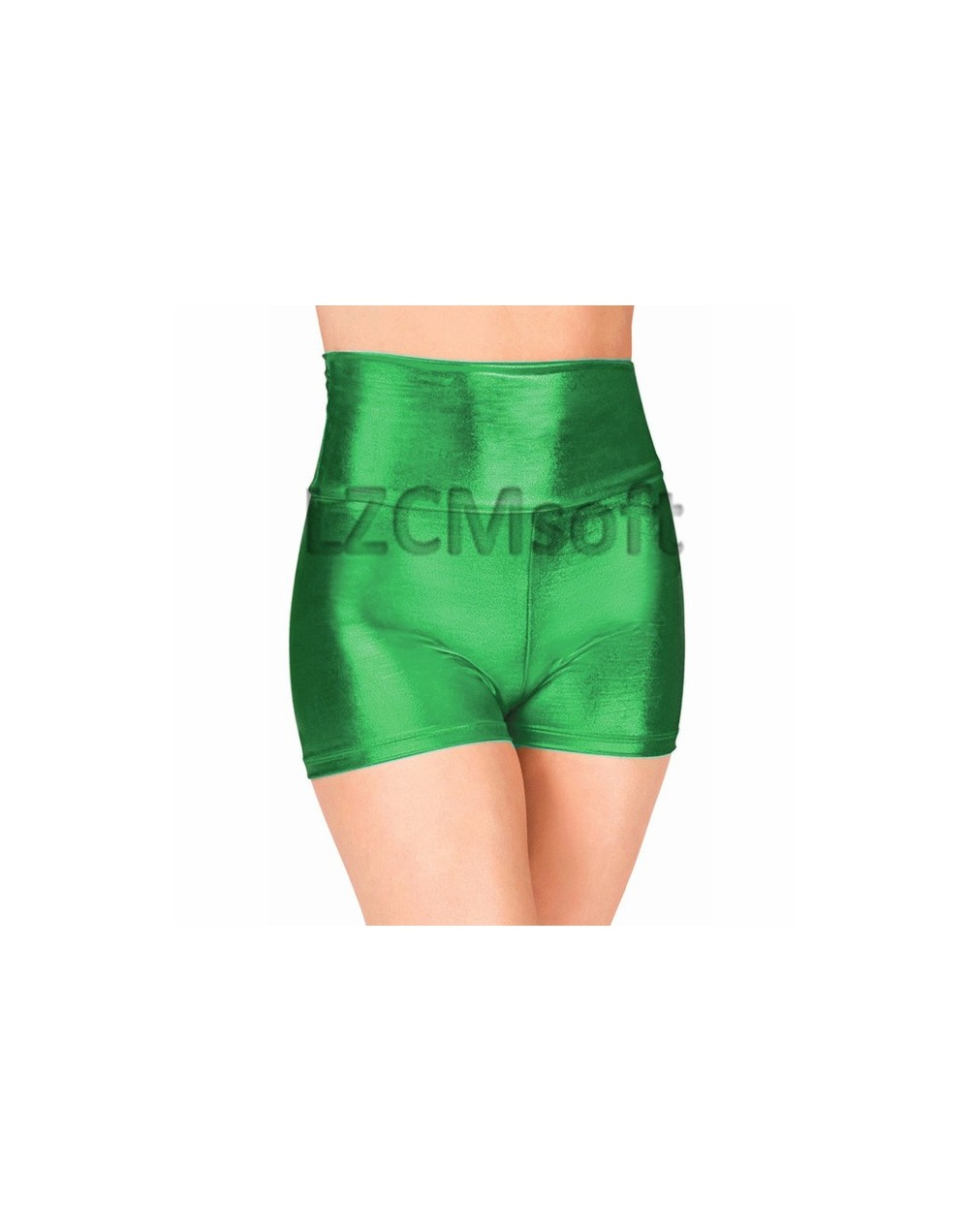 Adult Fuchsia High Waisted Dance Shorts Sexy Wet Look Skinny Rave Booty Stage Performance Shorts Metallic Underpants - Green...