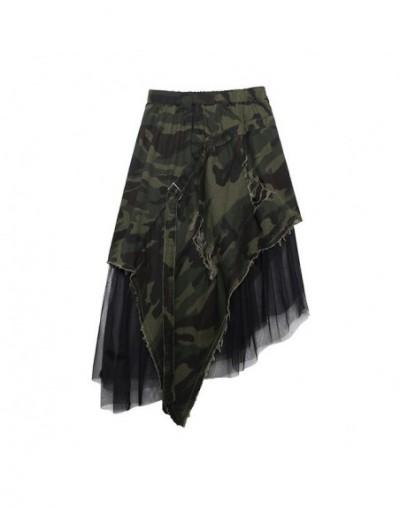 2019 New Spring Summer High Elastic Waist Camouflage Irregular Mesh Personality Half-body Skirt Women Fashion Tide JW294 - c...