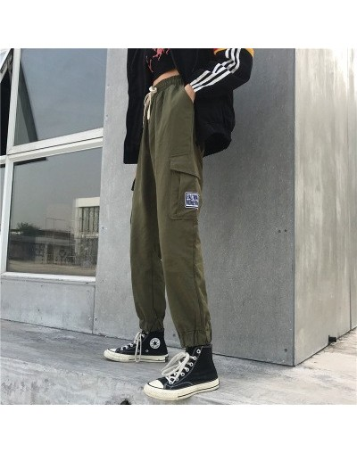 Streetwear Cargo Pants Women 2019 Casual Loose High Waist Chic Straight Ladies Pants Trousers M-XL - green - 4A4131240236-3