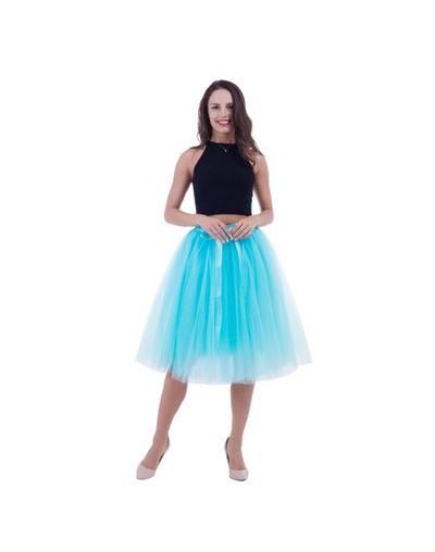 5 Layers Midi A Line Tutu Tulle Skirt High Waist Pleated Skater Skirts Womens Vintage Lolita Ball Gown Summer 2019 saias jup...