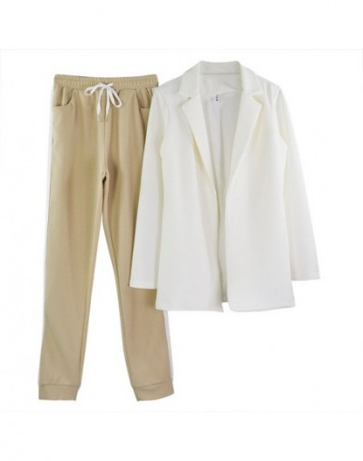 Women's Sets OL pant suits turn-down collar buttonless blazer jacket+side striped pants 2 piece outfits tracksuit - White - ...