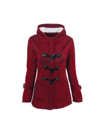Wine Red Women Casual Winter Coat Outerwear Warm Hooded Horn Button Pockets Overcoat Plus Size Autumn Thick Outerwear S-6XL ...
