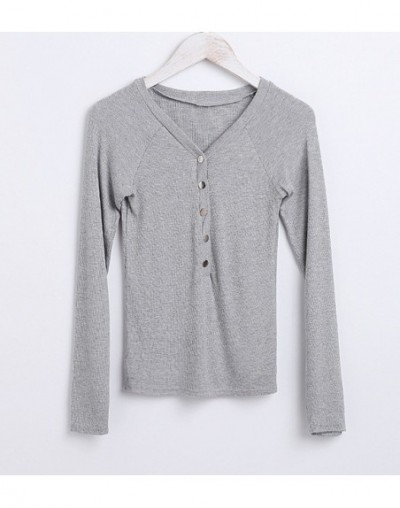 Women Long Sleeve Button Front Tops Button placket V Neck Long Sleeve T-shirts - gray - 463937728511-5