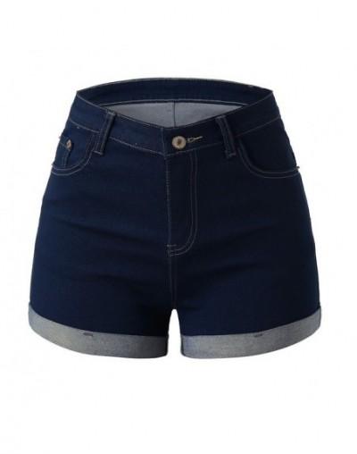 Women Mid Waisted Washed denim shorts Solid Mini Shorts Jeans crimping Mini Plus size short femme ete - Black - 4H4159742684-1