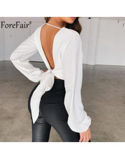 Backless V Neck White Sexy Blouse Women Summer Wrap Shirt Long Sleeve Chiffon Womens Tops and Blouses - white - 464120751041-3