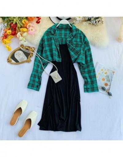 2019 New women dress two piece sets slim spaghetti strap black dress + fashion plaid printed blouse jacket sutis woman outfi...