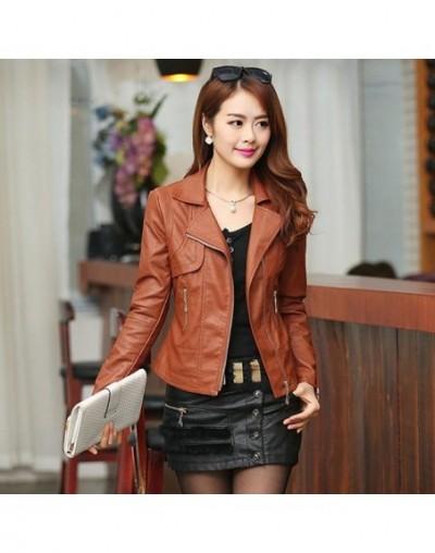 Plus Size 4XL Pu Leather Jacket Autumn Women Slim Motor Outwear Coat Zippers Roupas De Couro Female Elegant Punk Coat - 2 - ...