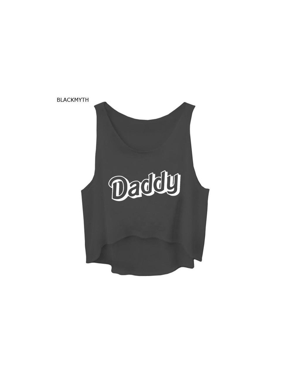 Women Tank Top Crop DADDY Letters Print Sleeveless Beach Vest - Black - 4Q3806077226-1