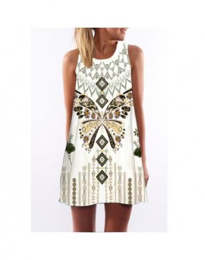 2019 summer dress women Vestidos O-Neck sleeveless print beach dress loose A-Line Dresses white floral dress - 65 - 40380902...