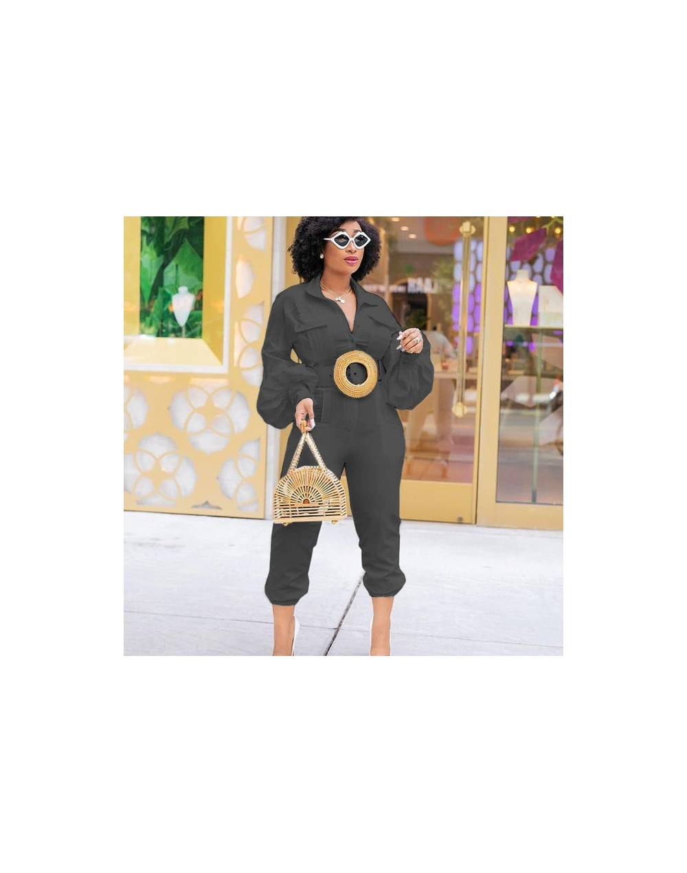 New Autumn Women Solid Color Lantern Long Sleeve Button Up Turn Down Neck Jumpsuit Female Fashion Elegant Romper Playsuit 20...