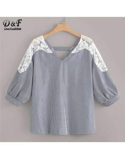 Plus Size Navy Double V Neck Lace Insert Striped Womens Tops And Blouses 2019 Summer Boho 3/4 Sleeve Ladies Tops - 4D4126526737