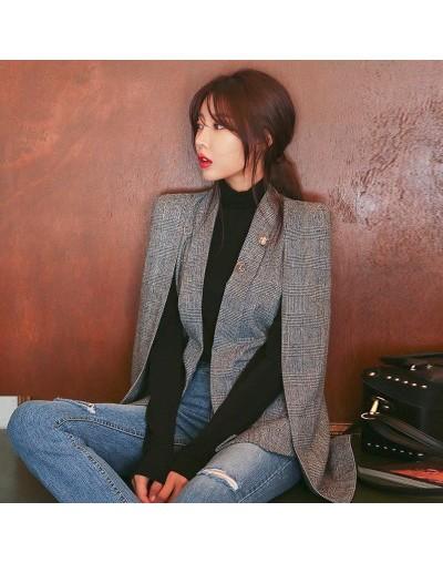 2018 NEW Long Sleeve Cape Blazer Coat Women Notched Split Cloak Cape Jacket Suit Women's Blazer OL Office Workwear plaid bla...