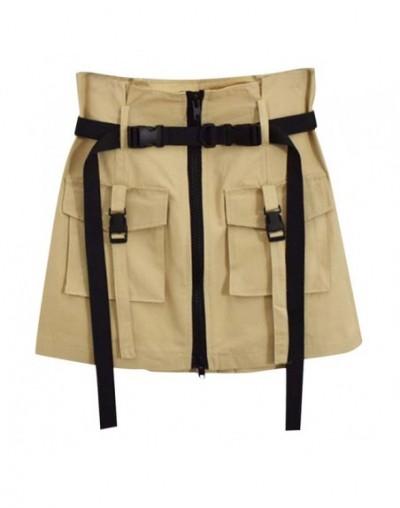 summer Autumn skirts womens Casual high waist skirts Solid color Elastic Party Joker pocket zipper tool Mini skirt L0711 - B...