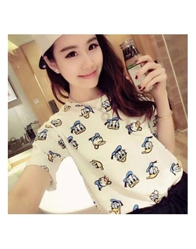 Cute Duck Printed Women Tshirt Top O-Neck Short Sleeve Women Tops and Tees Cotton Comfortable T-shirt Femme Cartoon Camiseta...