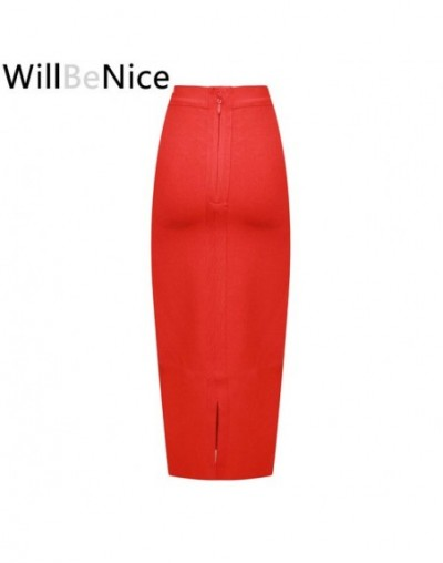 Black 2018 New wholesale High Waist Back Split Sexy Women Mid Calf Pencil Bandage Skirt - Red - 4T3068640256-6