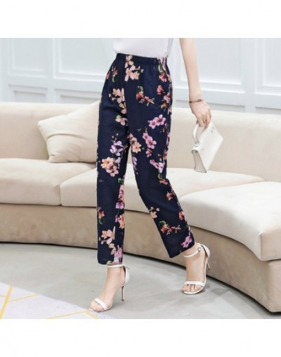Print Cotton Linen Elastic High Waist Pants Women Plus Size Pockets Ladies Casual Streetwear Fashion Trousers Women Summer P...