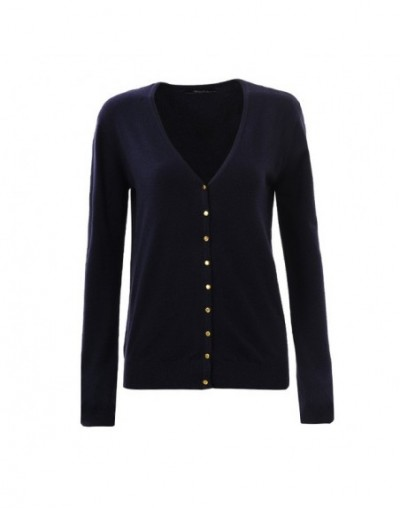 2018 Cardigan Sweater Womens Autumn and winter Long Sleeve V-neck Solid knit Sweaters Tops Sueteres WMY-2604-1 - Dark blue -...