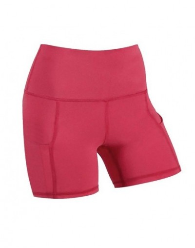 High Quality Women's Shorts High Waist Pocket Short Abdomen Control Training Running Daily Sportswear 2019 Hot Sale - Red - ...