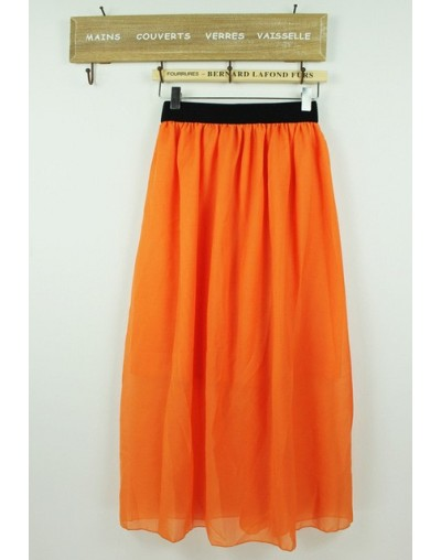 Hot Sale 2018 Summer Fashion Bohemian Double Layer Chiffon Pleated Elastic Waist long Maxi Skirt Drop Shipping - Orange - 4Z...