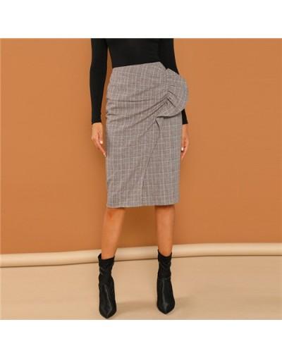 Grey Ruffle Embellished Overlap Plaid Skirt Women Workwear Casual Pencil Skirts Womens Clothing 2018 Autumn Midi Skirt - Gra...