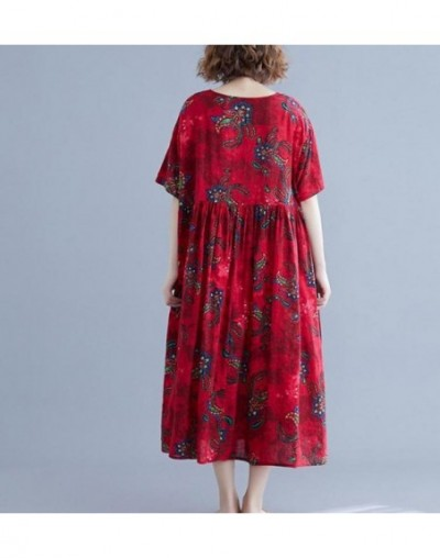 Summer Office Lady Dress Print Loose Short Pockets Knee-Length Dress Regular Natural O-neck Casual Women Dress - Red - 47412...