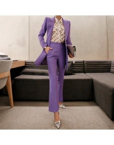 Fashion Double Breasted Women Pant Suit Notched Long Blazer Jacket and Straight Pant Casual 2 Pieces Set Slim Work Business ...