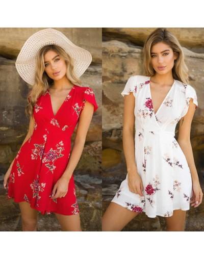 New 2018 Summer Women Short Sleeve Mini Dress Casual Party Evening V neck High Waist Chiffon Short Mini Dresses - White - 4P...