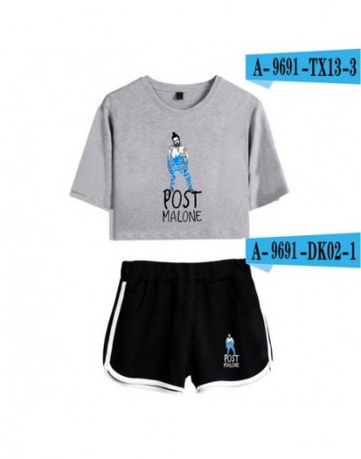 Post Malone Two Piece Sets 2018 New Fashion For Women Crop Top Casual Clothes Summer Short Pants And T-shirts - -6 - 4330650...