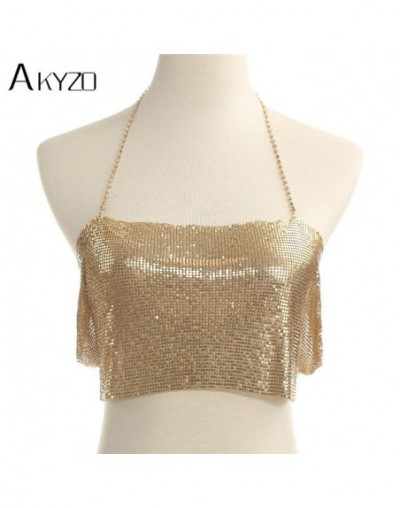 Women Fashion Sexy Sequined Cropped Tops Gold Silver Adjustable Metal Chain Camis Backless Glitter Nightclub Show Wear Top -...