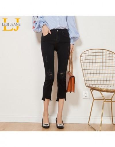 Autumn Casual Style Ripped Tassel Distreess Mid Waist Ankle Length Plus Size Slim Flare Black Jeans Women 6252 - black - 403...