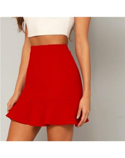 Red Solid Ruffle Hem Party Elegant Skirt Women Bottoms 2019 Summer High Waist Pencil Mini Skirt Office Ladies Skirts - Red -...