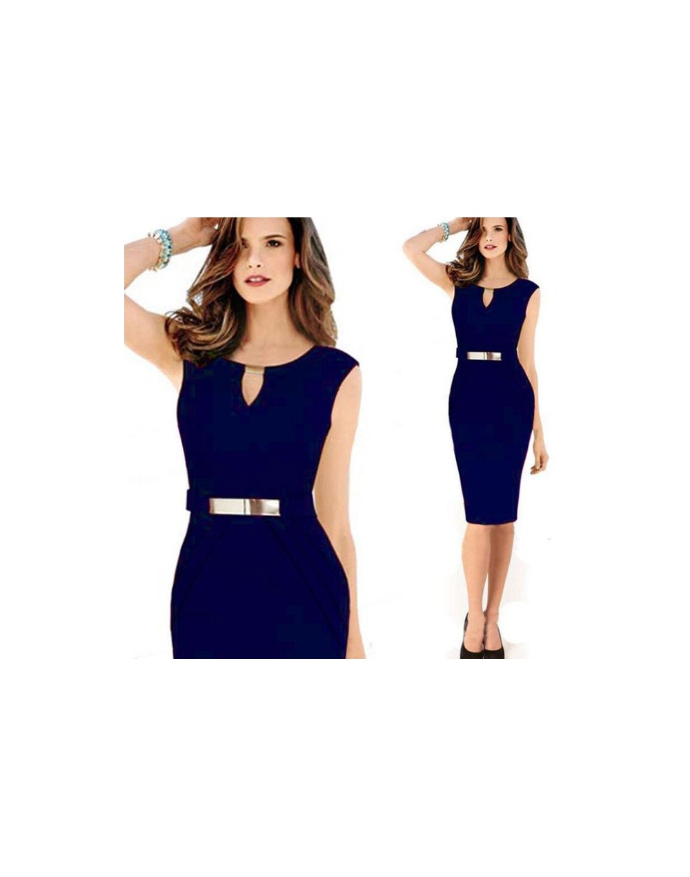 Vestidos Feminina Causal Summer Dress 2016 Women Fashion Bodycon Office O Neck Sleeveless Lady Sheath Pencil Dress Plus Size...