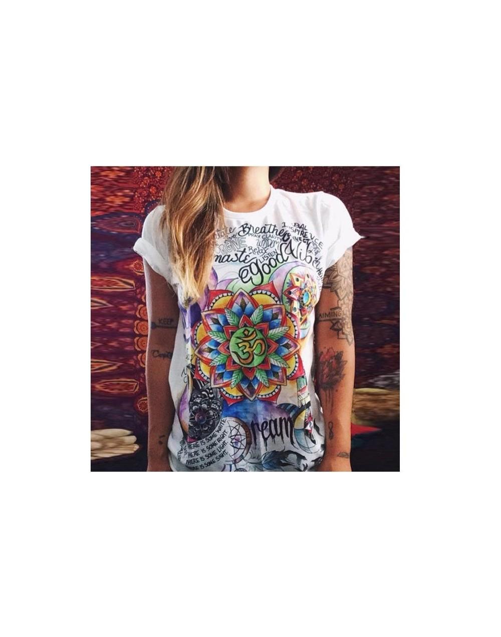 Women T Shirt 2019 Short Sleeve Round collar Sleeve head Chiffon shirt Wild Print Chiffon Female Tees Women Top - style3 - 4...