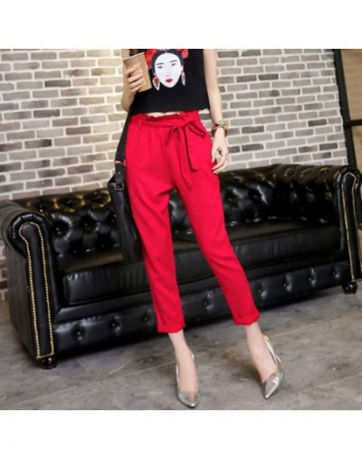 New 2019 Fashion spring Vintage gray grid casual pants women pants trousers female streetwear capris summer pants - red - 4H...