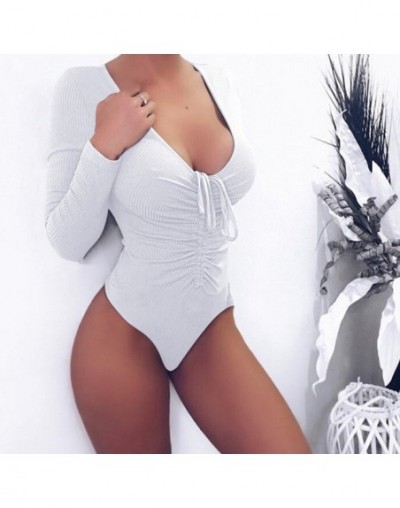 Sexy deep v-neck Bodysuits Jumpsuit romper Bodycon Playsuit Women Slim Cotton Knitted Long Sleeve Autumn winter body top - w...
