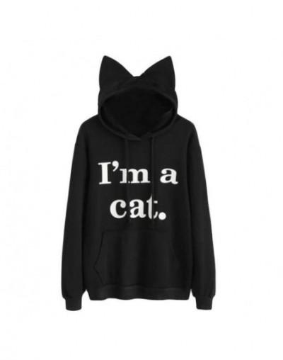 Ladies Female Print Warm Brief Sweatshirts Top Women Hoodie Long Sleeve Sweatshirt Jumper Hooded Pullover Tops - Black - 4W3...